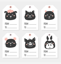 Black and white farm animals tags rabbit goat vector