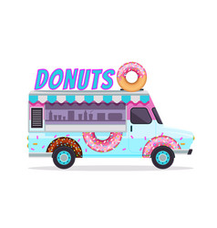 blue donuts food truck icon isolated on white vector image