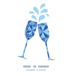 Blue triangle texture toasting wine glasses vector