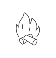 bonfire with firewood line icon vector image