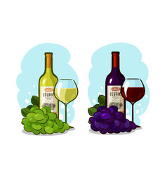 Bottle of red or white wine glass and grapes vector