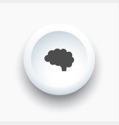 brain icon on a white 3d button vector image