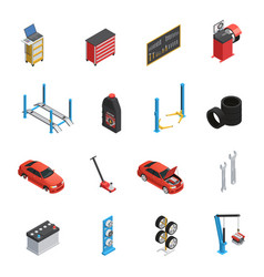 Car maintenance service isometric icons vector