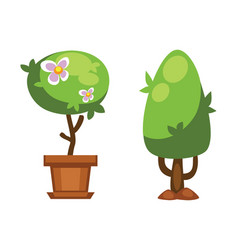cartoon garden green tree vector image vector image