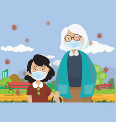 Children wear a medical face mask girl and grand vector