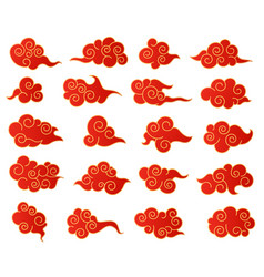 chinese clouds korean or japanese red and golden vector image