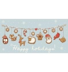 Christmas cookies garland set design vector