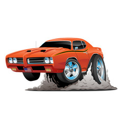 Classic american muscle car cartoon vector