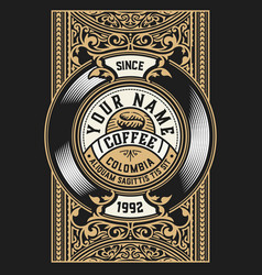 coffee label for packing layered vector image