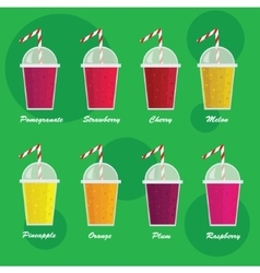 Collection of eight healthy fruit smoothies in vector image