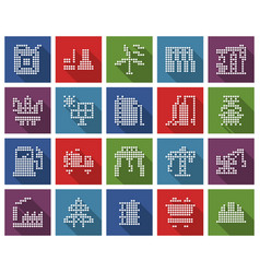 collection square dotted icons industries vector image