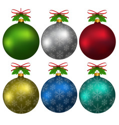 colorful christmas balls with snowflakes hanging vector image