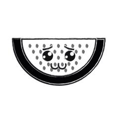 Contour kawaii nice shy watermelon icon vector