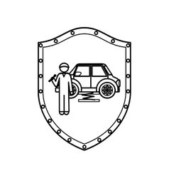 contour shield of mechanic with spanner and car vector image