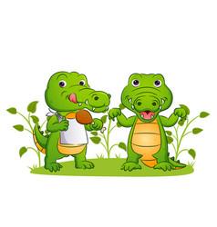 Couple crocodile is eating vector
