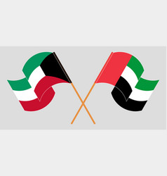 Crossed and waving flags kuwait and united vector