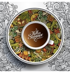 Cup coffee and hand drawn watercolor summer vector