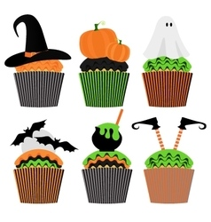 Cupcake set Halloween Sweets Party Invitation vector image