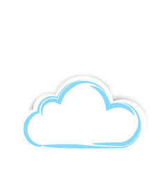 cute sticker clouds with shadow on white vector image