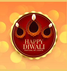 Design card for happy diwali festival with diya vector