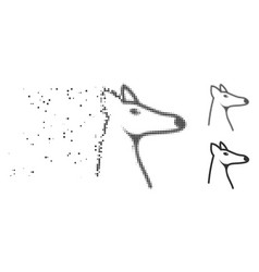Disappearing pixel halftone fox head icon vector