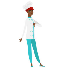 Disappointed african chef cook with thumb down vector