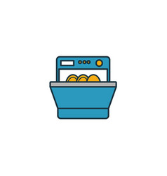 Dishwasher icon set four elements in diferent vector