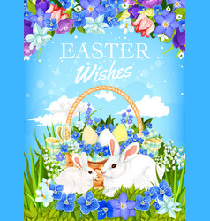 Easter bunnies with egg basket and spring flowers vector