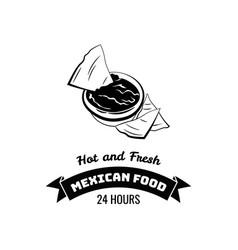 Emblem mexican food nachos vector