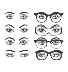 Female eyes and eyes with glasses vector