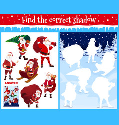 find correct shadow kids christmas game with santa vector image