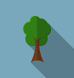 Flat design modern of tree icon with long shadow vector image