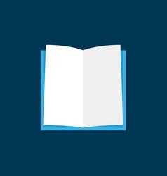 Flat open book icon or symbol on dark blue vector