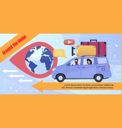 Flat poster advertising travel cararound globe vector