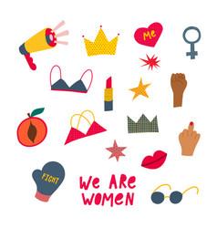 Girl woman power objects sticker set vector