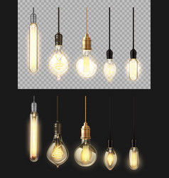 Glowing lamps filament bulbs isolated set vector