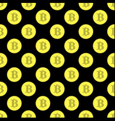 golden bitcoin seamless pattern crypto currency vector image