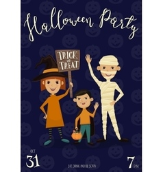 Halloween party banner design with kids vector