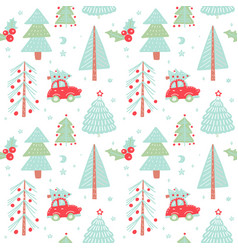 hand drawn christmas seamless pattern vector image