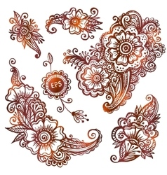 Hand-drawn ornaments set in Indian mehndi style vector