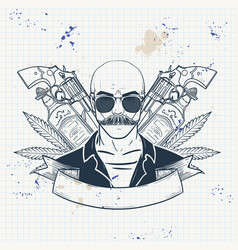 hand drawn sketch mexican man vector image