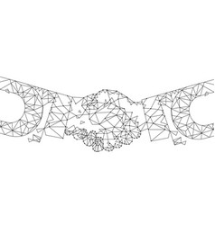 handshake blockchain digital technology vector image