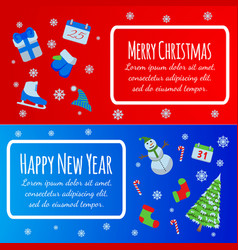 Happy new year banner merry christmas giftcard vector