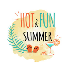 Hot and fun summer icon isolated on white vector