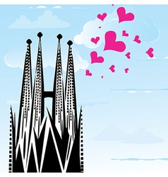 I love town city barcelona spain heart vector