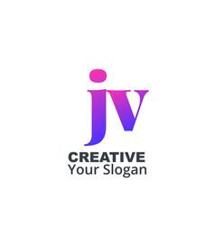 Initial letter jv lowercase design logo template vector