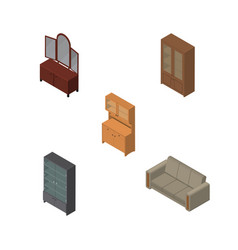 Isometric furnishing set of couch cabinet drawer vector