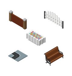isometric urban set of sitting barricade barrier vector image