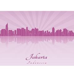 Jakarta skyline in purple radiant orchid vector