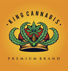 King cannabis logo weed shop and company vector